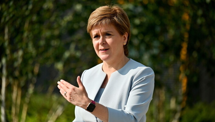 Scottish First Minister Nicola Sturgeon visits the NHS Golden Jubilee in Clydebank, Scotland, Britain August 25, 2021.  Jeff J Mitchell/Pool via REUTERS