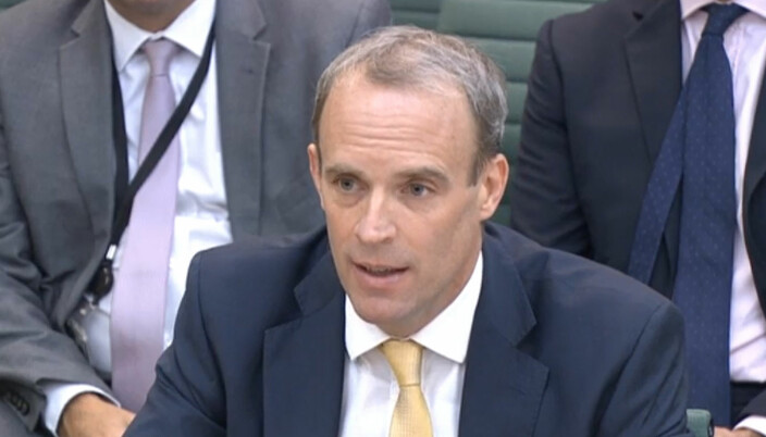 Foreign Secretary Dominic Raab giving evidence to the Commones Foreign Affairs Committee in London, about the Government's handling of the Afghanistan crisis.