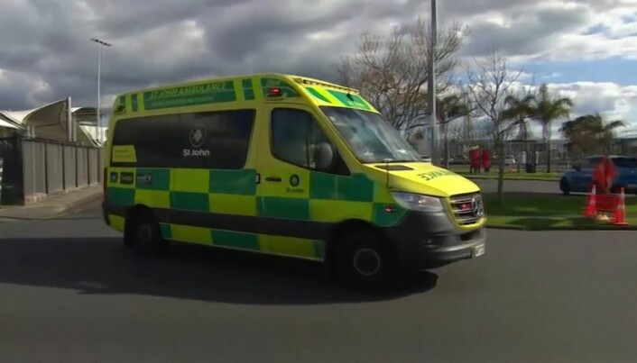 An ambulance at the scene in New Zealand.