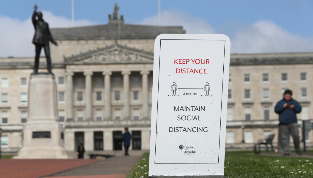 A social distancing sign in the Stormont Estate in Belfast