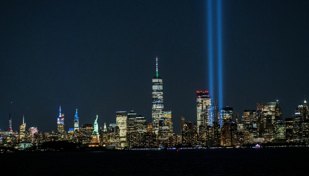 The Tribute in Light installation, the World Trade Center, The Empire State Building, The Statue of Liberty and the skyline of New York are seen ahead of the 20th anniversary of the September 11 attacks in Manhattan.