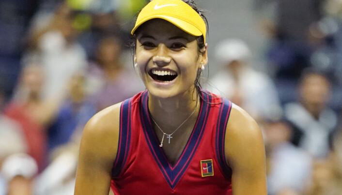 Great Britain's Emma Raducanu celebrates defeating Greece's Maria Sakkari to reach the Women's Final during day eleven of the US Open at the USTA Billie Jean King National Tennis Center, Flushing Meadows.