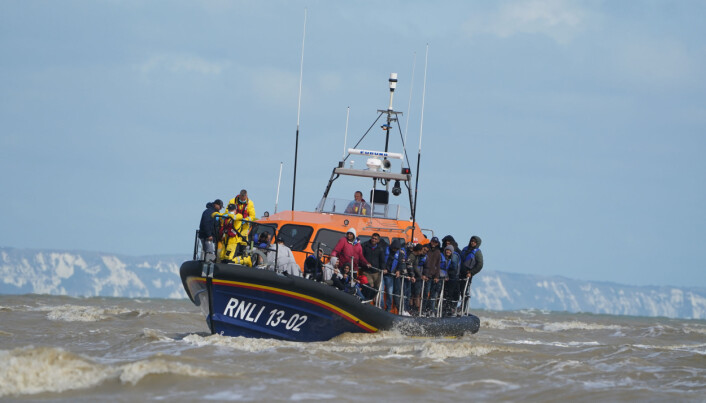 A group of people thought to be migrants are brought in to Dungeness, Kent, by the RNLI, following a small boat incident in the Channel.