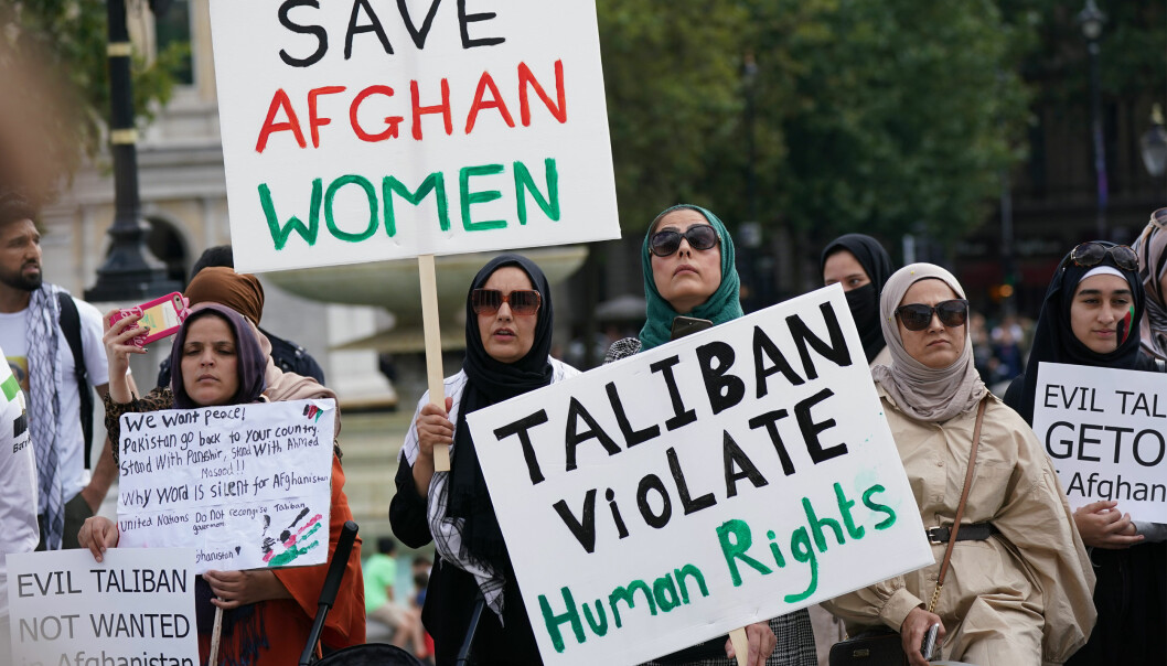 People at an Afghan solidarity rally in Trafalgar Square, London, to oppose the Taliban.