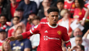 Manchester United's Jadon Sancho during the Premier League match against Newcastle at Old Trafford.