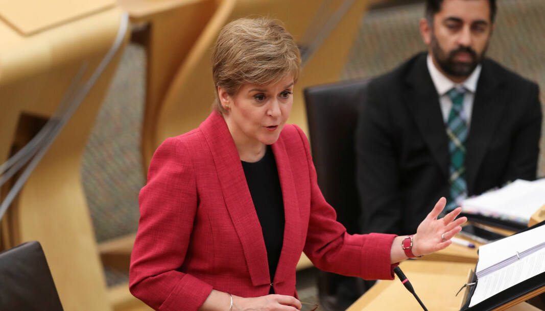 First Minister Nicola Sturgeon during First Minister's Questions in the debating chamber of the Scottish Parliament.