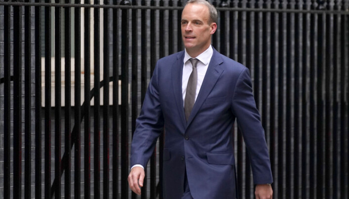 Foreign Secretary Dominic Raab arrives in Downing Street.