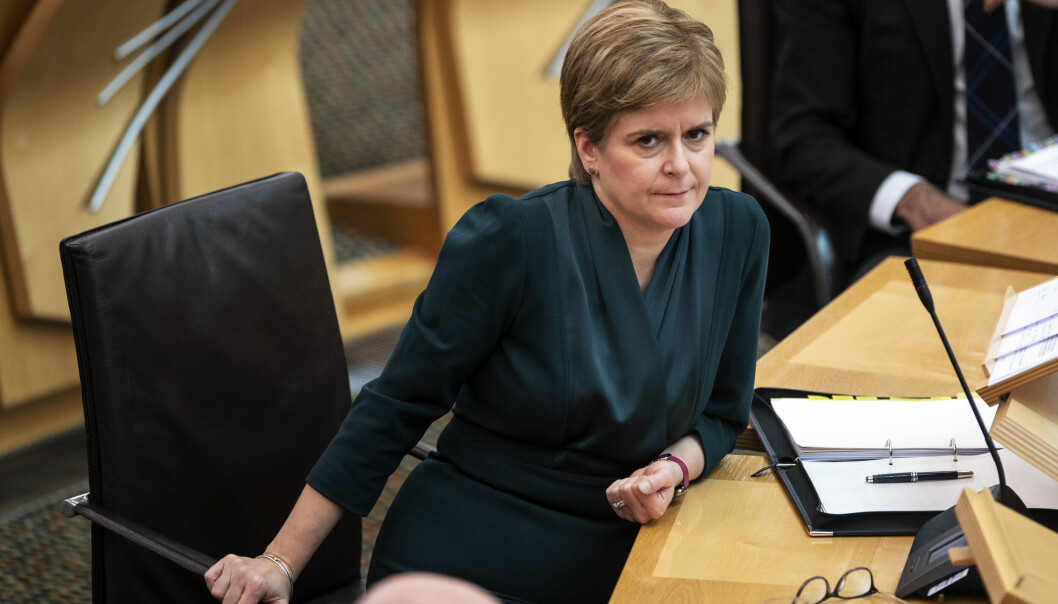 Scotland's First Minister Nicola Sturgeon, during First Minster's Questions at the Scottish Parliament.