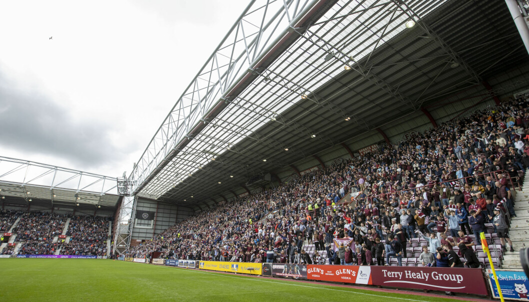 Heart of Midlothian fans during the cinch Premiership match at Tynecastle.