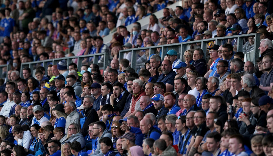 St Johnstone fans watch the play during the UEFA Europa Conference League Play-offs, second leg match at McDiarmid Park.