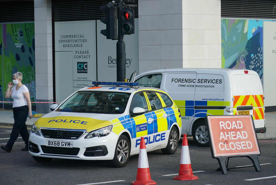 Police near Pegler Square in Kidbrooke, south London near to where the body of 28-year-old school teacher Sabina Nessa was found on Saturday. Picture date: Saturday September 25, 2021.