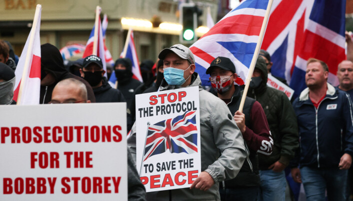 Loyalists during a rally against the Northern Ireland Protocol in Newtownards Road, Belfast. Picture date: Friday September 17, 2021.