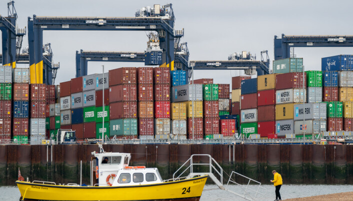 Thousands of shipping containers at the Port of Felixstowe in Suffolk, as shipping giant Maersk has said it is diverting vessels away from UK ports to unload elsewhere in Europe because of a build-up of cargo.