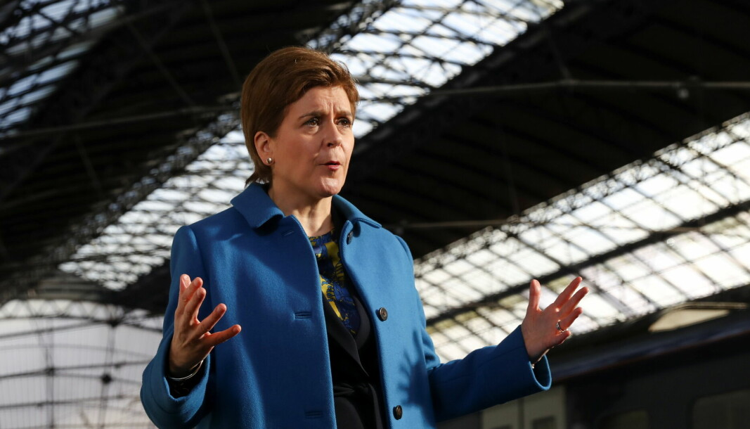 First Minister Nicola Sturgeon gestures as she speaks at the relaunch of Glasgow Queen Street station in Glasgow. Picture date: Monday October 4, 2021.