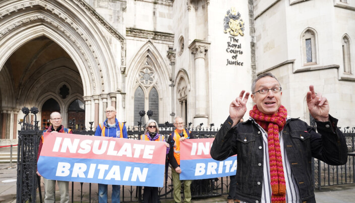 Tim Gough, spokesperson for Insulate Britain outside the Royal Courts of Justice in London, before a hearing over the injunction banning the environmental activists from blocking the M25.